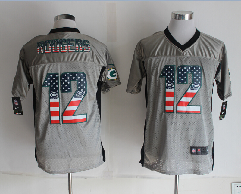 Green Bay Packers 12 Rodgers USA Flag Fashion Grey Shadow 2014 New Nike Elite Jerseys
