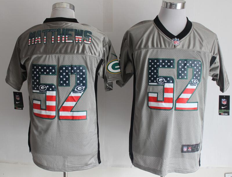 Green Bay Packers 52 Matthews USA Flag Fashion Grey Shadow 2014 New Nike Elite Jerseys