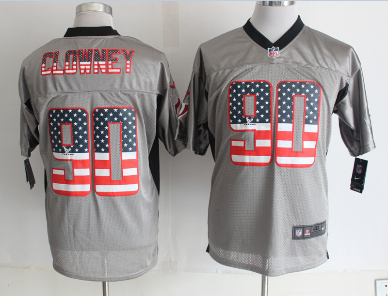 Houston Texans 90 Clowney USA Flag Fashion Grey Shadow 2014 New Nike Elite Jerseys