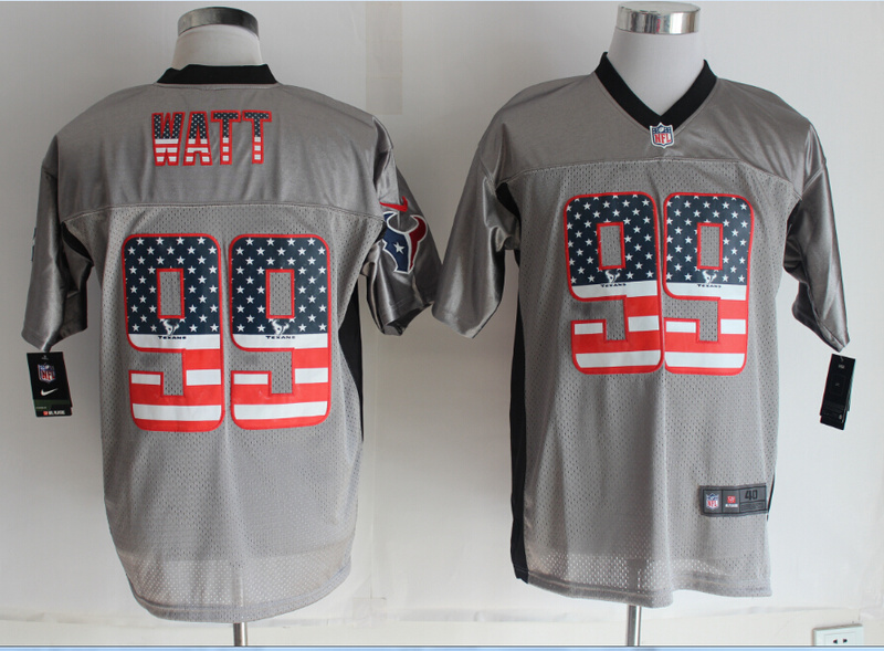 Houston Texans 99 Watt USA Flag Fashion Grey Shadow 2014 New Nike Elite Jerseys