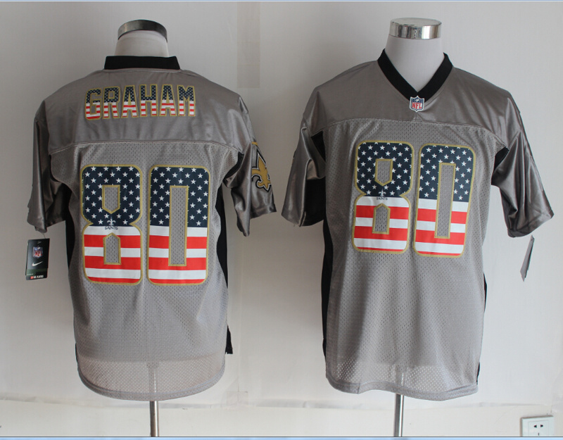 New Orleans Saints 80 Graham USA Flag Fashion Grey Shadow 2014 New Nike Elite Jerseys