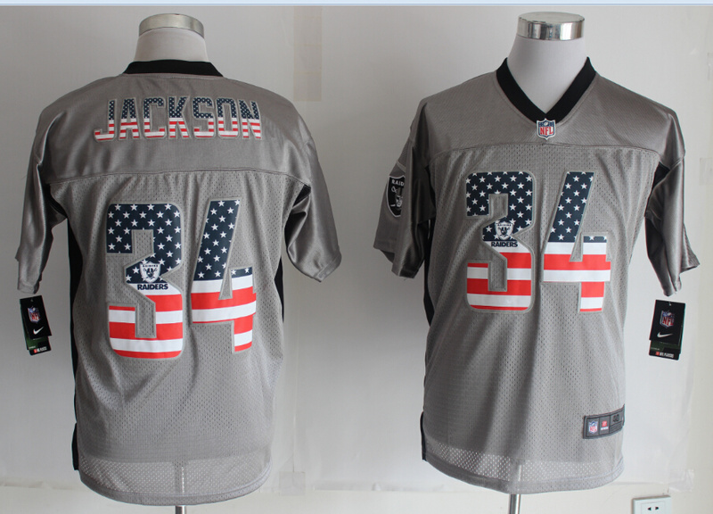 Oakland Raiders 34 Jackson USA Flag Fashion Grey Shadow 2014 New Nike Elite Jerseys