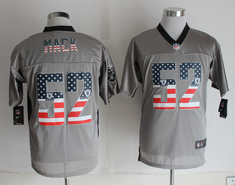 Oakland Raiders 52 Mack USA Flag Fashion Grey Shadow 2014 New Nike Elite Jerseys