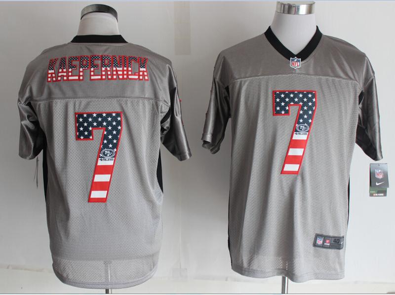 San Francisco 49ers 7 Kaepernick USA Flag Fashion Grey Shadow 2014 New Nike Elite Jerseys