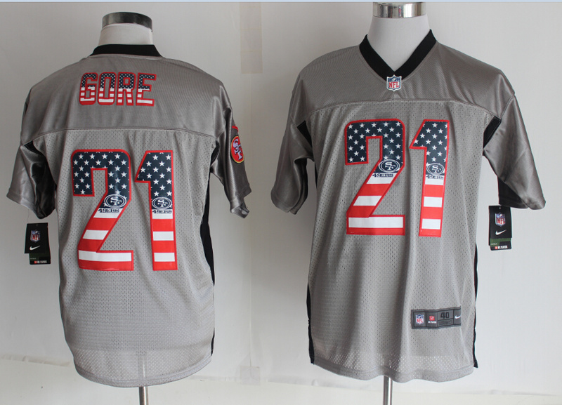 San Francisco 49ers 21 Gore USA Flag Fashion Grey Shadow 2014 New Nike Elite Jerseys