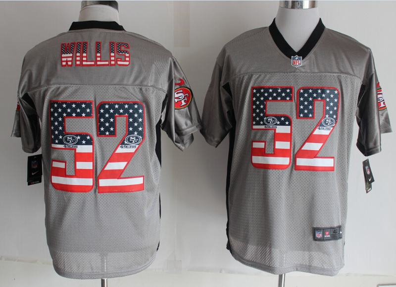 San Francisco 49ers 52 Wills USA Flag Fashion Grey Shadow 2014 New Nike Elite Jerseys