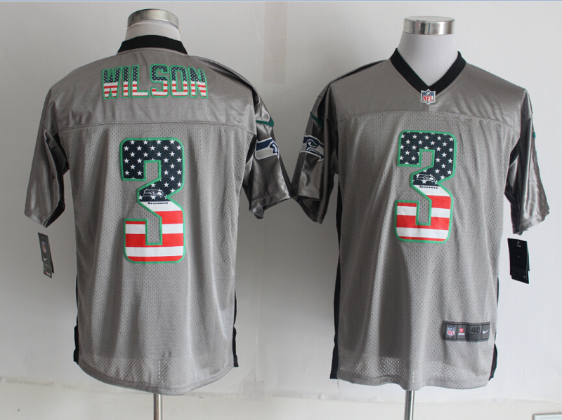 Seattle Seahawks 3 Wilson USA Flag Fashion Grey Shadow 2014 New Nike Elite Jerseys