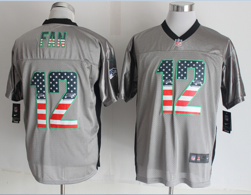 Seattle Seahawks 12 Fan USA Flag Fashion Grey Shadow 2014 New Nike Elite Jerseys
