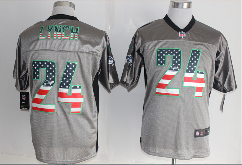Seattle Seahawks 24 Lynch USA Flag Fashion Grey Shadow 2014 New Nike Elite Jerseys