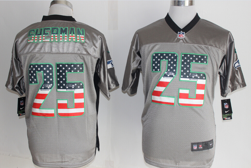 Seattle Seahawks 25 Sherman USA Flag Fashion Grey Shadow 2014 New Nike Elite Jerseys