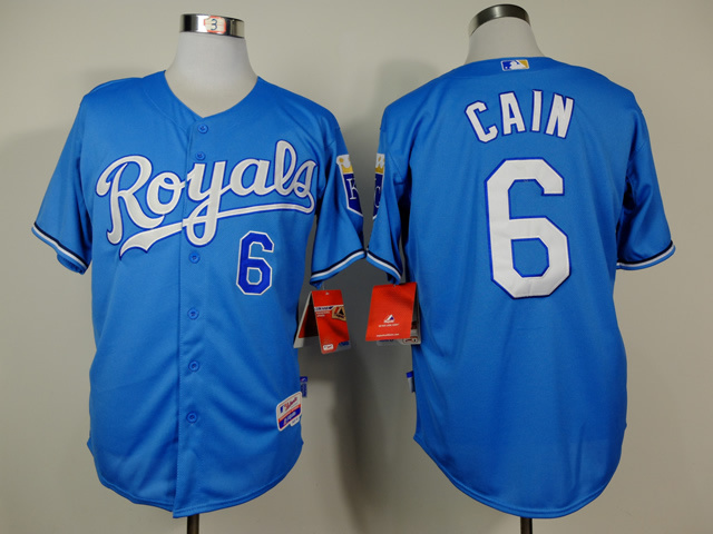 MLB Kansas City Royals 6 Cain Blue 2014 Jerseys