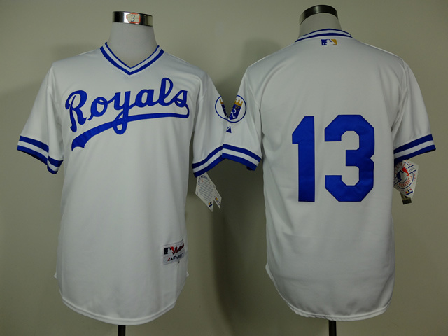 MLB Kansas City Royals 13 Salvador Perez White 1974 Turn The Clock Jersey