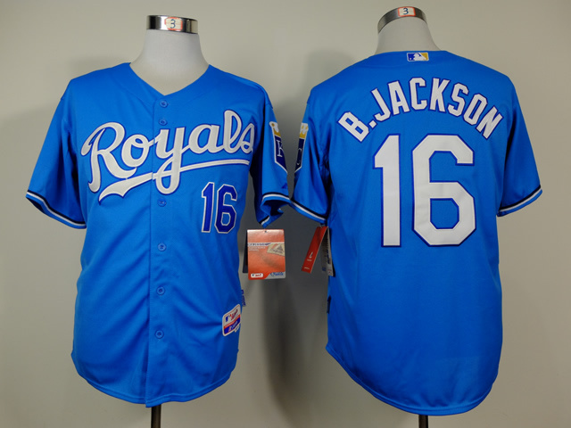 MLB Kansas City Royals 16 Bo Jackson Blue Throwback Jerseys