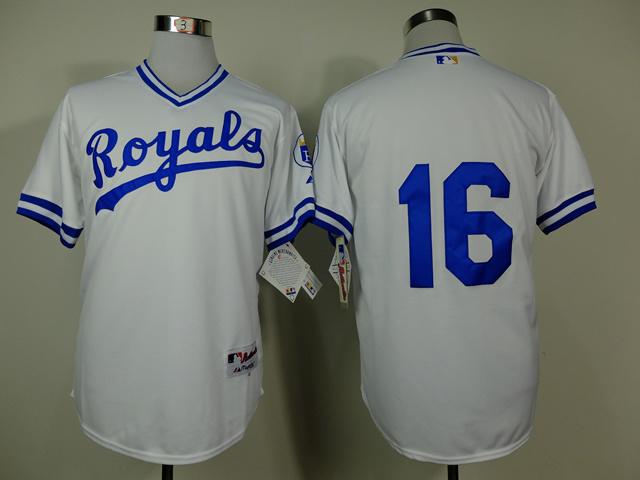 MLB Kansas City Royals 16 Bo Jackson White 1974 Turn The Clock Jersey