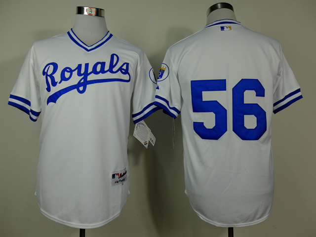 MLB Kansas City Royals 56 Greg Holland White 1974 Turn The Clock Jersey