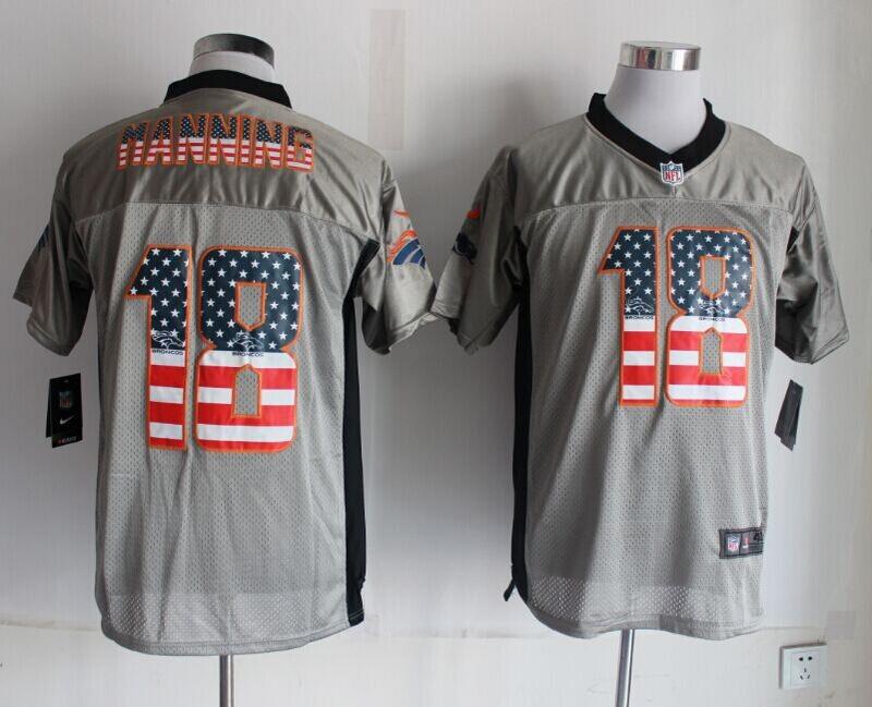 Denver Broncos 18 Peyton Manning USA Flag Fashion Grey Shadow 2014 New Nike Elite Jerseys