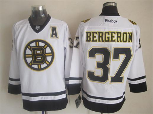 NHL Boston Bruins 37 Patrice Bergeron Fashion Replica White 2014 Jerseys