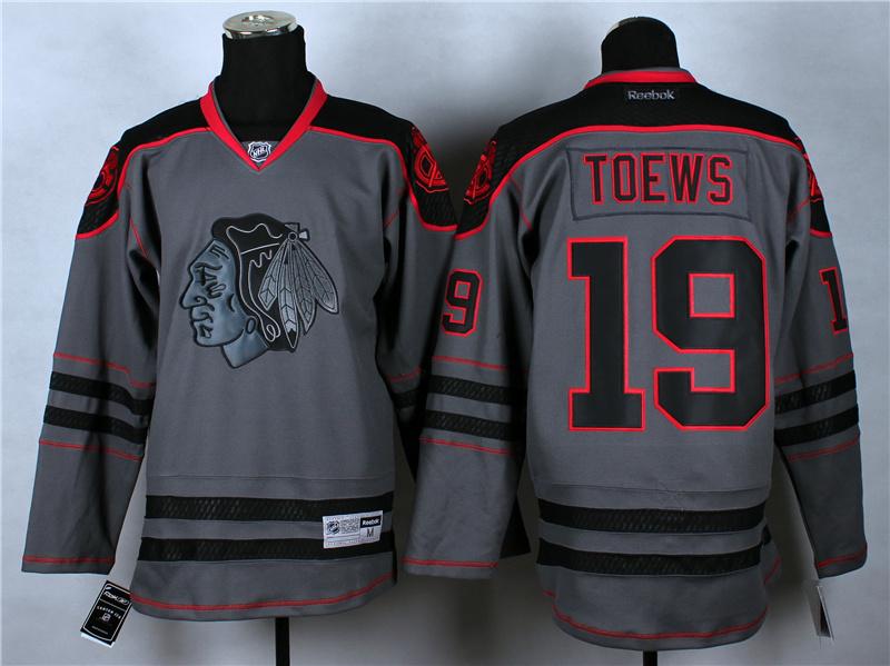 NHL Chicago Blackhawks 19 Toews Charcoal Fashion 2014 Jersey