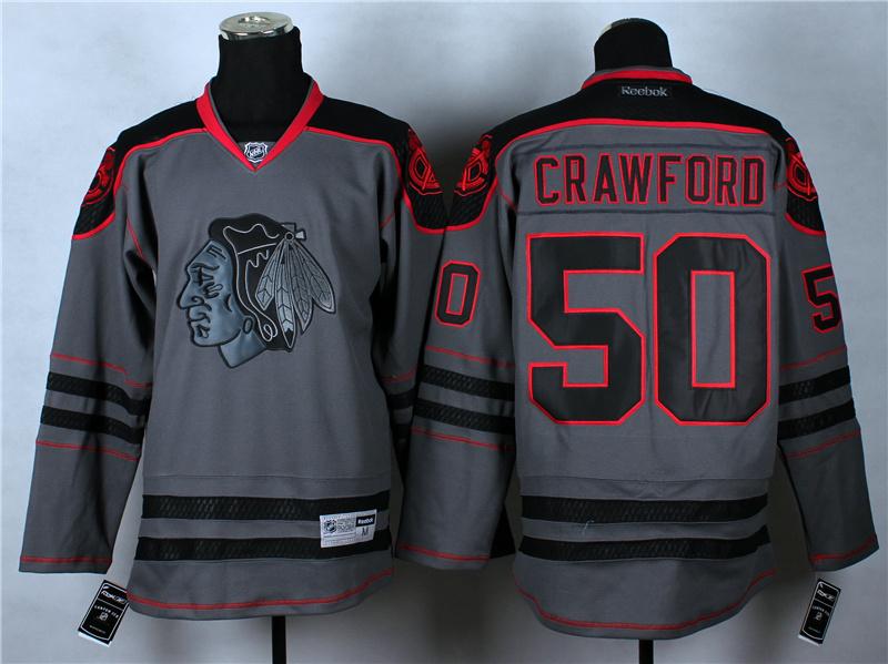 NHL Chicago Blackhawks 50 Crawforo Charcoal Fashion 2014 Jersey