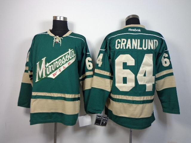 NHL Minnesota Wild 64 Mikael Granlund Green 2014 Jerseys