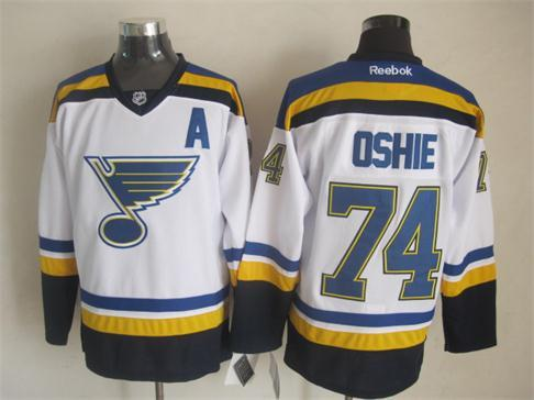 NHL St. Louis Blues 74 TJ Oshie Royal White 2014 Jerseys