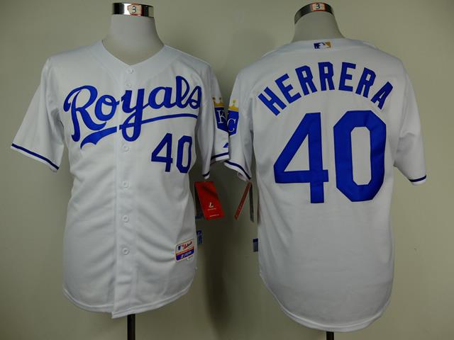MLB Kansas City Royals 40 Herrera white 2014 Jerseys