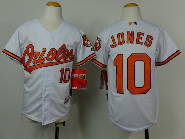 Youth MLB Baltimore Orioles 10 Jones white 2014 Jerseys