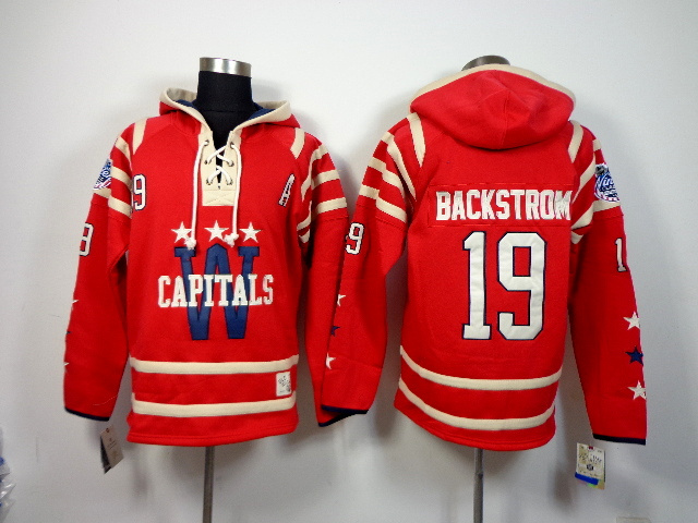 NHL Washington Capitals 19 Nicklas Backstrom Red Pullover Hooded Sweatshirt