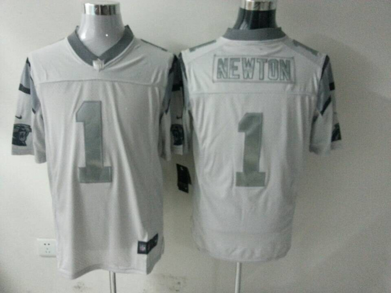 Carolina Panthers 1 Cam Newton White Silver 2014 Nike Game Jerseys