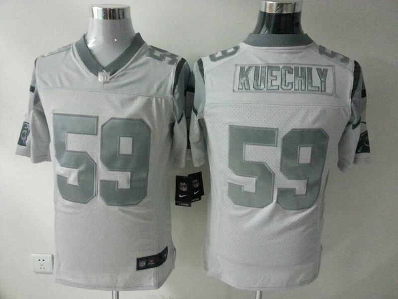Carolina Panthers 59 Kuechly White Silver 2014 Nike Game Jerseys