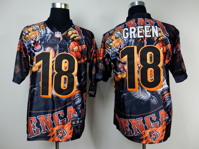 Cincinnati Bengals 18 Green NFL Nike fanatical version Jersey