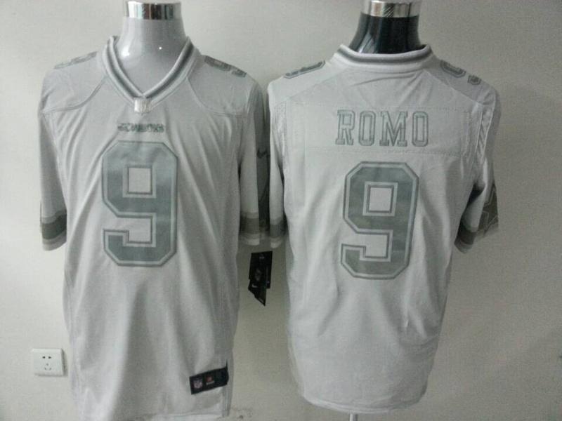 Dallas cowboys 9 Romo White Silver 2014 Nike Game Jerseys