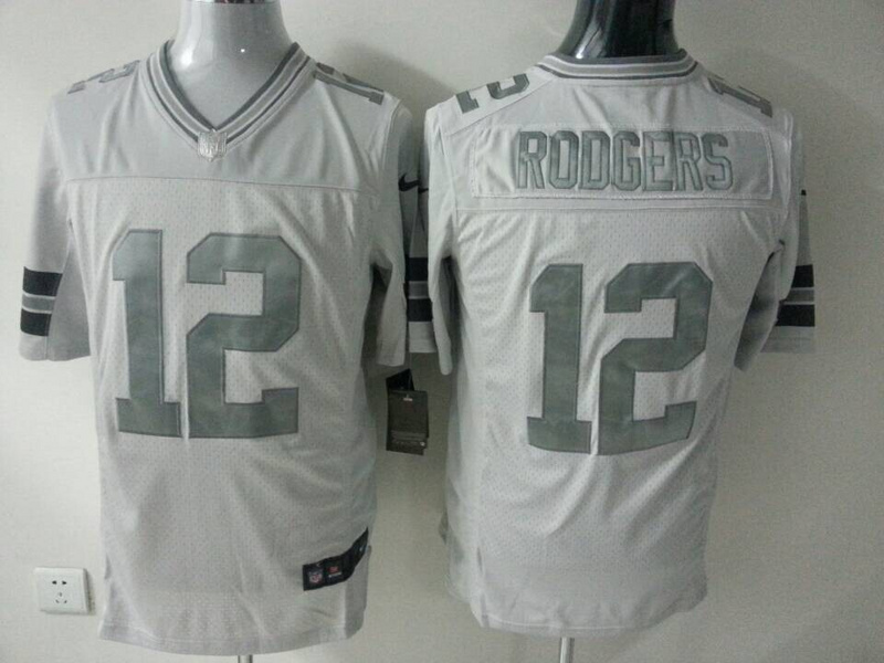 Green Bay Packers 12 Aaron Rodgers White Silver 2014 Nike Game Jerseys