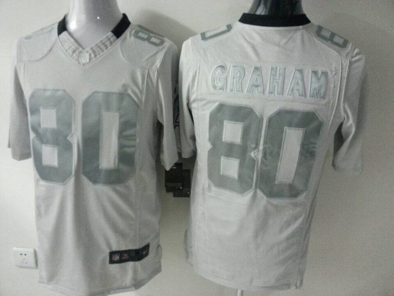 New Orleans Saints 80 Jimmy Graham White Silver 2014 Nike Game Jerseys