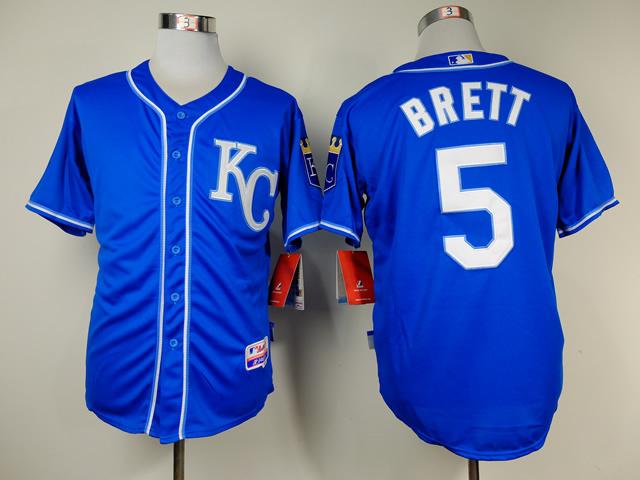 MLB Kansas City Royals 5 George Brett Blue Throwback Jerseys