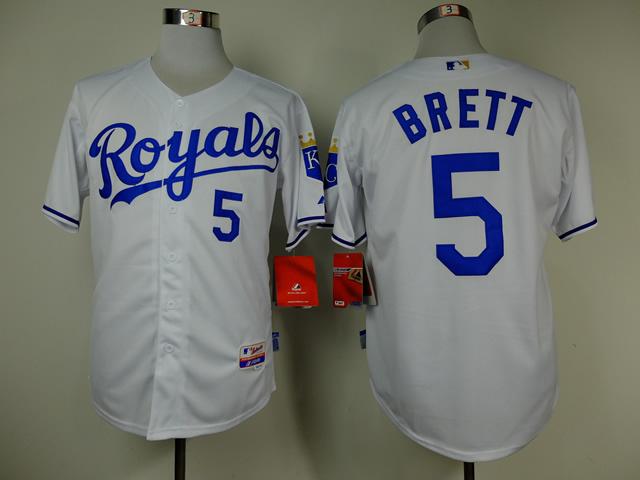 MLB Kansas City Royals 5 George Brett white Throwback Jerseys