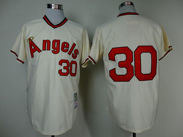 MLB Los Angeles Angels 30 Nolan Ryan Cream Throwback Jerseys