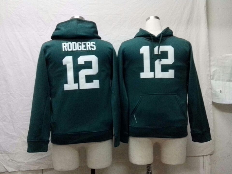Green Bay packers 12 Aaron Rodgers Nike NFL Kids Pullover Hooded Sweatshirt