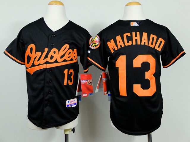 Youth MLB Baltimore Orioles 13 Machado Black 2014 Jerseys