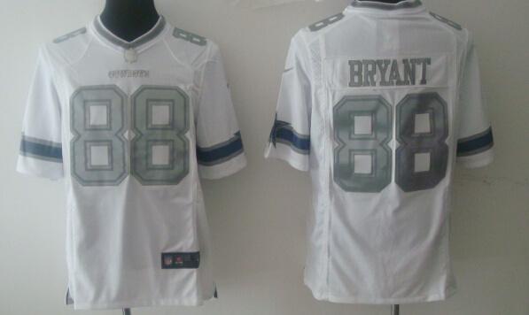 Dallas Cowboys 88 Dez Bryant White Silver 2014 Nike Game Jerseys