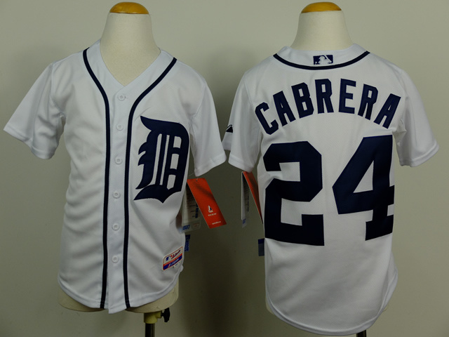 Youth MLB Detroit Tigers 24 Miguel Cabrera white 2014 Jerseys