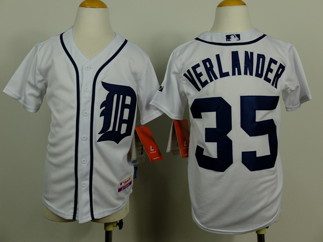 Youth MLB Detroit Tigers 35 Verlander white 2014 Jerseys