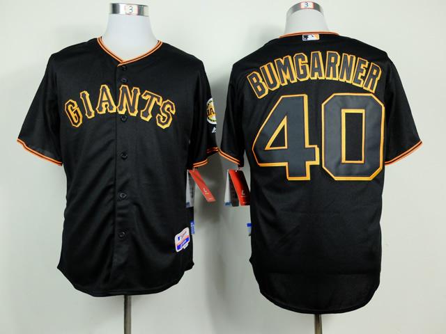 MLB San Francisco Giants 40 Madison Bumgarner Black 2014 Jerseys