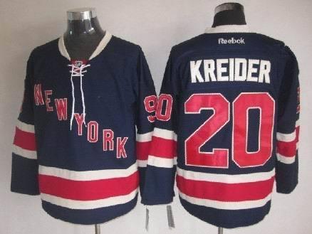 NHL New York Rangers 20 Chris Kreider Drak Blue 2014 Jerseys