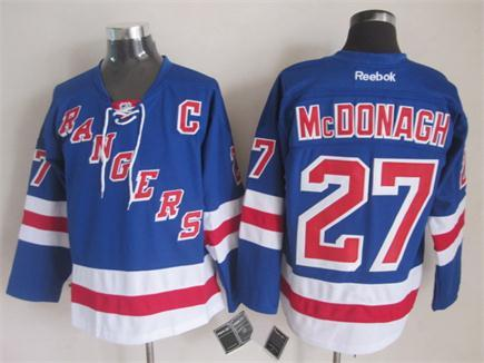 NHL New York Rangers 27 Ryan McDonagh Blue 2014 Jerseys