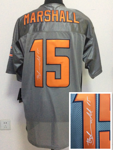 Chicago Bears 15 Brandon Marshall Gray NFL Nike Elite With player signed Jerseys