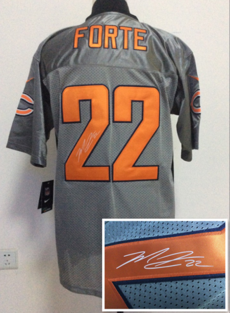 Chicago Bears 22 Forte Gray NFL Nike Elite With player signed Jerseys