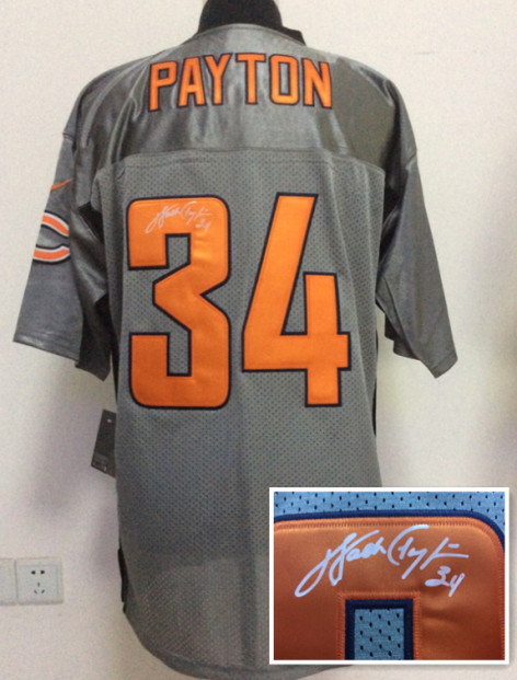 Chicago Bears 34 Payton Gray NFL Nike Elite With player signed Jerseys