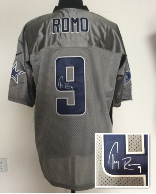 Dallas Cowboys 9 Tony Romo Gray NFL Nike Elite With player signed Jerseys