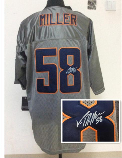 Denver Broncos 58 Von Miller Gray NFL Nike Elite With player signed Jerseys